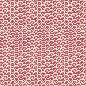 Pasha Fan (Linen Union) - 10 - Red fan shaped arcs printed on white linen fabric