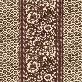 Pasha (Linen Union) - 6 - Dark brown and cream coloured flowers and small arc shapes printed on linen fabric