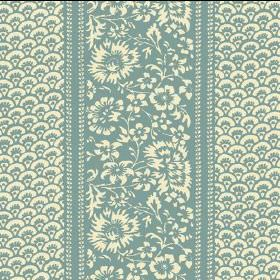 Pasha (Cotton) - 7 - Cream flowers on a light turquoise background, between areas with a small pattern in the same colours, on cotton fabric