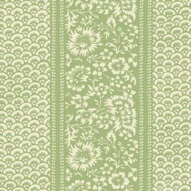 Pasha (Linen Union) - 8 - Bands of flowers and fan-shaped arcs printed on linen fabric in pale green and cream