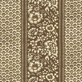 Pasha (Linen Union) - 9 - Flowers and a series of small arcs printed on brown and cream linen fabric