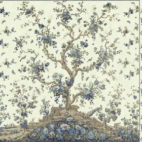 Peacock Tree Repeat (Cotton) - 1 - A design of a grey hill and tree, scattered with countless blue flowers, printed on cream coloured cotton
