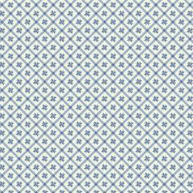 Peacock Tree Lisboa (Cotton) - 1 - Blue and white checked cotton fabric with a tiny blue geometric design at the centre of each check