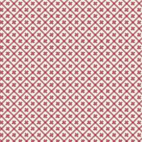 Peacock Tree Lisboa (Cotton) - 2 - Cotton fabric featuring red and white checks and small geometric red shapes