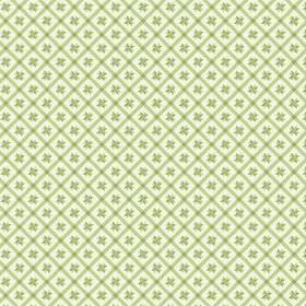 Peacock Tree Lisboa (Cotton) - 3 - Light green grid printed on cream coloured cotton fabric, with small green geometric shapes at the centre