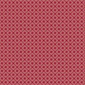 Peacock Tree Lisboa (Cotton) - 4 - Dusky red cotton fabric as a background for a dark red grid, which contains small dark red geometric shap