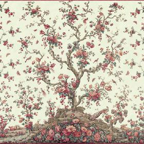 Peacock Tree Repeat (Linen Union) - 2 - Fabric made from patterned cream linen, with a tree and flowers in red, salmon pink, brown and dusky