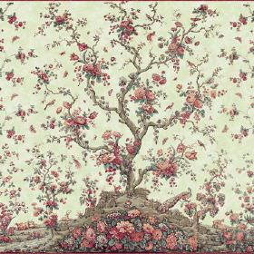 Peacock Tree Repeat (Linen Union) - 4 - Pale yellow-cream linen fabric background to a pattern of a brown tree and red and salmon pink flowe