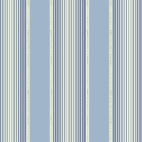Peacock Tree Stripe (Linen Union) - 1 - Different shades of blue and white making up a striped linen fabric with an optical illusion effect