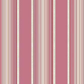 Peacock Tree Stripe (Linen Union) - 2 - Linen fabric with a striped design of pink, white and dark pink-red bands of varying widths