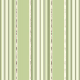 Peacock Tree Stripe (Cotton) - 4 - Fabric made from white cotton with stripes in two different shades of green, which give an optical illusi