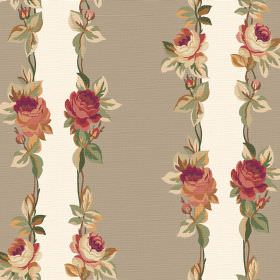 Albertine (Linen Union) - 1 - Linen fabric with stone coloured and white stripes, each edged with vintage inspired roses and leaves