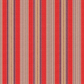 Perpetue (Cotton) - 2 - Stripes of bright coral, purple, grey and gold colours on cotton fabric