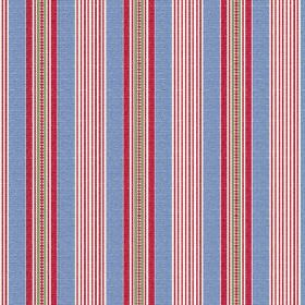 Perpetue (Linen Union) - 4 - Linen fabric with a striped pattern in cobalt blue, cherry red, grey and white
