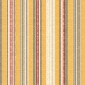Perpetue (Linen Union) - 5 - Yellow, grey, dusky red and white striped linen fabric