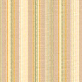 Perpetue (Linen Union) - 6 - Linen fabric printed with a regular pattern of yellow, beige, green and white vertical stripes