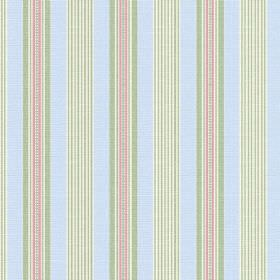 Perpetue (Cotton) - 7 - A regular pattern of pink, green and white stripes printed vertically on pale blue coloured cotton fabric