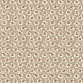 Margueritte (Cotton) - 1 - Small bursts of white, orange-red and green scattered over a grey cotton fabric background