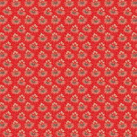 Margueritte (Cotton) - 2 - Bright red cotton fabric featuring rows of tiny bunches of flowers in grey and cream
