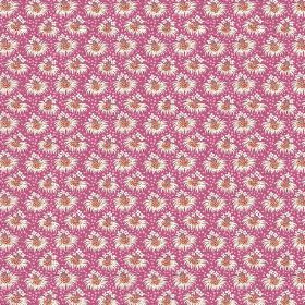 Margueritte (Linen Union) - 3 - Bursts of tiny white and orange-brown flowers arranged in rows over bright pink-purple linen fabric