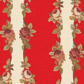 Albertine (Linen Union) - 2 - Rows of vintage inspired roses and leaves between bright red and cream coloured stripes on linen fabric