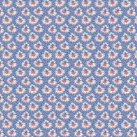 Margueritte (Linen Union) - 4 - Rows of tiny bunches of white and pink flowers against a cobalt blue linen fabric background