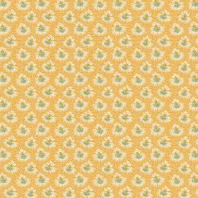 Margueritte (Cotton) - 5 - Mustard yellow coloured cotton fabric as a background for rows of green and cream coloured floral bursts
