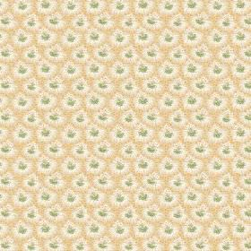 Margueritte (Cotton) - 6 - Green, white and gold coloured patterned cotton fabric