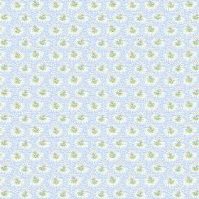 Margueritte (Cotton) - 7 - Cotton fabric with a tiny, repeated pattern in green and white upon a pale blue background
