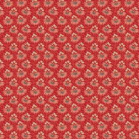 Margueritte (Linen Union) - 8 - Bunches of tiny cream, red and grey flowers arranged in rows across linen fabric in a deep red colour
