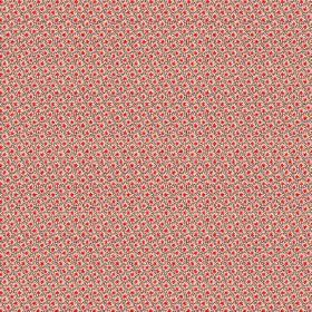 Lierre (Cotton) - 2 - A tiny grey grid with miniscule bright red dots printed on dusky red-pink cotton fabric