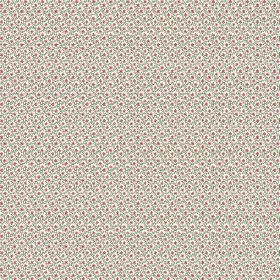 Lierre (Linen Union) - 3 - A tiny grey-blue grid printed on white linen fabric, with repeated dark pink-red dots