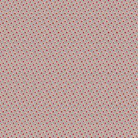 Lierre (Linen Union) - 4 - Patterned linen fabric in grey and two different shades of pink, with a small grid and tiny dots