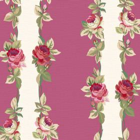 Albertine (Cotton) - 3 - Vertical purple and white stripes on cotton fabric, with rows of roses and leaves edging each stripe