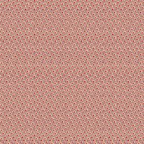 Lierre (Linen Union) - 8 - Fabric made from linen with a pattern of a grey grid and dark red dots over a salmon pink coloured background