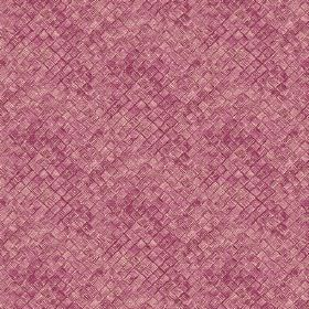 Raphia (Cotton) - 3 - Unevenly coloured purple and cream squares on cotton fabric, which gives a textured effect