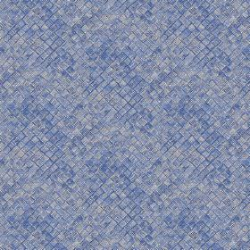 Raphia (Linen Union) - 4 - Small squares which look textured printed in various shades of blue on linen fabric