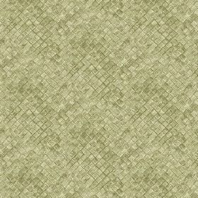 Raphia (Linen Union) - 6 - Green textured effect linen fabric with a square print