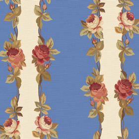 Albertine (Cotton) - 4 - Bands of blue and cream, all edged with vintage style roses and leaves, printed on cotton fabric
