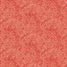 Raphia (Linen Union) - 8 - Bright orange-red coloured squares which look raised and textured printed on linen fabric