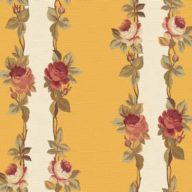 Albertine (Cotton) - 5 - Rows of vintage inspired roses and leaves printed to border mustard yellow and cream coloured stripes on cotton fab