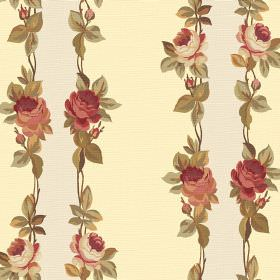 Albertine (Linen Union) - 6 - Vertical bands of cream and very pale yellow, printed with vintage inspired rose and leaf edges on linen fabri