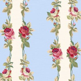 Albertine (Linen Union) - 7 - Red, pink and green roses and leaves edging pale blue and white bands on linen fabric
