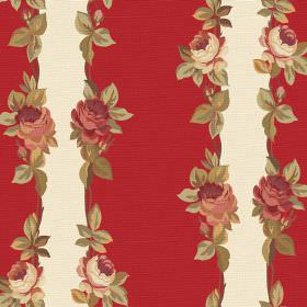 Albertine (Linen Union) - 8 - Red and cream stripes printed on linen fabric, each edged with flowers and leaves which have a vintage feel ab