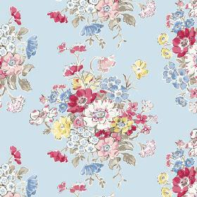 Porthcurno (Linen Union) - 1 - Light blue linen fabric with a repeated pattern of bunches of red, pink, blue, yellow, white and green flower