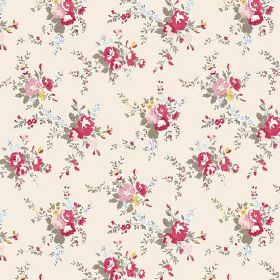 Zennor (Linen Union) - 4 - Linen fabric with a red, pink, yellow, blue and green floral print on a very pale pink-cream background