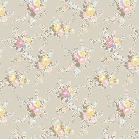 Zennor (Cotton) - 5 - Pale green, olive green, yellow, blue and pink floral print cotton fabric