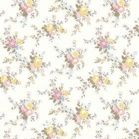 Zennor (Cotton) - 6 - Small bouquets of yellow, pink, blue and green flowers against a white cotton fabric background