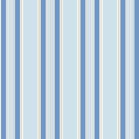 Porthmeor (Linen Union) - 1 - Stripes of bright blue, light blue, silver and white repeatedly printed over linen fabric