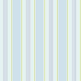 Porthmeor (Cotton) - 2 - Striped cotton fabric featuring bands of green, white and different shades of blue